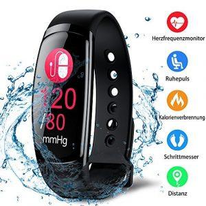 Kombel Fitness Trackers Fitness Armband mit Pulsmesser Wasserdicht Farbbildschirm Aktivitätstracker Kalorienzähler Schlafmonitor Vibrationsalarm Schrittzähler mit Anruf SMS Whatsapp Kinder Damen Herren
