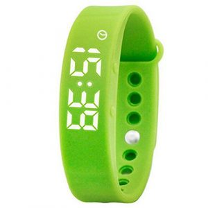 Damen-Grün Smart LED-Digital-Sport-Fitness-Kalorien-Armband Studenten Silikon Uhr für Kinder Männer