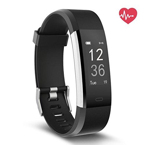 Delvfire Fitness Tracker mit Herzfrequenz, Wasserdicht Aktivitätstracker Uhr mit Pulsemesser, Smart Armband für Damen, Herren, Kinder mit Schlafüberwachung, Schrittzähler Android Apple - Schwarz