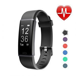 Letscom Fitness Armband mit Pulsmesser Fitness Tracker wasserdicht Aktivitätstracker Armbanduhr mit Schrittzähler, Pedometer, Kalorienzähler, Smart Armband für Kinder, Damen und Herren Kompatibel mit Android iOS Smartphone,Schwarz
