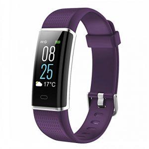 Fitness Armbanduhr, TOOBUR IP68 Wasserdicht Fitness Tracker mit Herzfrequenz Schrittzähler Schlafmonitor und Kalorienzähler, Aktivitätstracker Armband Uhr für Damen Herren und Kinder (Violett)