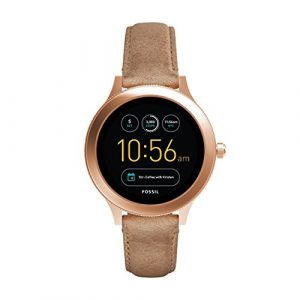 Fossil Damen Smartwatch Q Venture 3. Generation – Leder – Sand – Moderne Smartwatch mit Lederarmband im Vintage Design – Für Android & IOS