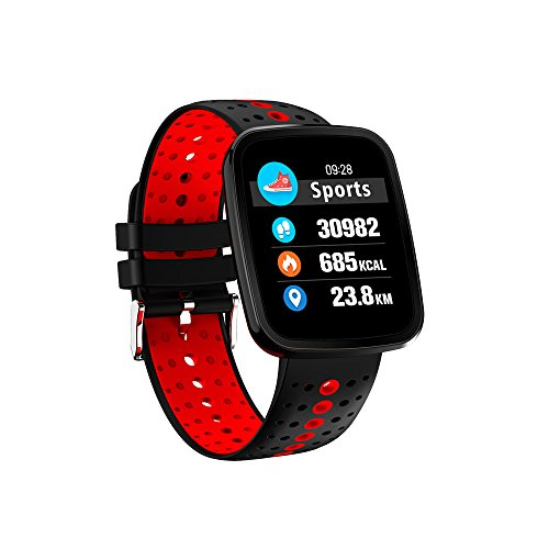 Fitness Armband,TechCode IP67 Wasserdicht Smart Band Pulsmesser Fitness Tracker Bluetooth Smart ArmbandUhr Schrittzähler mit Blut Sauerstoffdruck Monitor Sportuhr für Vibrationsalarm Anruf SMS Whatsapp Beachten kompatibel mit IOS Android Smartphones.A01-Rot)