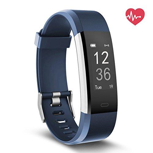 Delvfire Fitness Tracker mit Herzfrequenz, Wasserdicht Aktivitätstracker Uhr mit Pulsemesser, Smart Armband für Damen, Herren, Kinder mit Schlafüberwachung, Schrittzähler für Android Apple - Blau