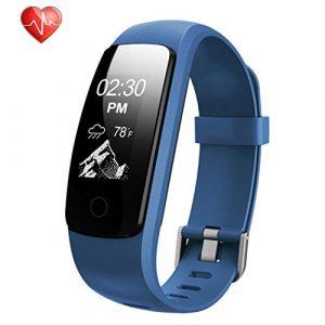 Fitness Armbänder, Semaco Fitness Tracker mit Pulsmesser, Fitness Aktivitätstracker Schrittzähler, Schlaf-Monitor,/ Kalorienzähler, Anrufen / SMS, GPS-Routenverfolgung für Android iOS Smartphone (blau)
