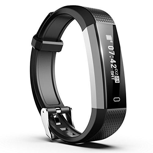 Fitness Tracker, Smiphee N1 Schrittzähler Armband mit Schlafaufzeichnung/ Distanz/ Kalorienverbrauch/ Anruf SMS APP Wecker Beachten, IP67 Wasserdichtes Fitness Armband für iPhone & Android Smartphone, Schwarz