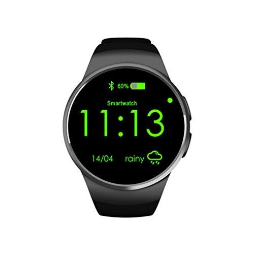 tslmj Fitness Armbanduhr Sim TF Uhr Smart Watch Herren Herzfrequenz-Messgerät Fitness Tracker Bracelet Sport Uhr Telefon Kamera/Schrittzähler/Schlaftracker/for Android Smartphone (Schwarz)