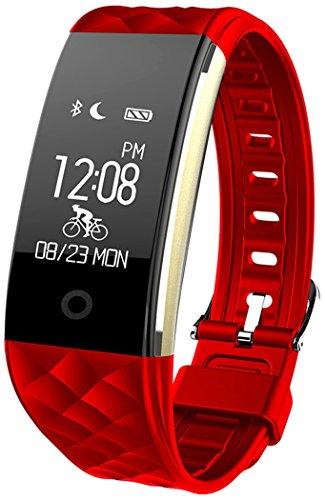 Fitness Armbänder mit Pulsmesser Semaco Fitness Tracker mit Herzfrequenzmesser, Schrittzähler, Schlaf-Monitor, Aktivitätstracker, Remote Shoot, Anrufen / SMS, finden Telefon für Android iOS Smartphone (Rot)