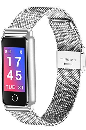 Fitness Trackers Herren Damen Silber Edelstahl Armband Blutdruck Herzfrequenz Schrittzähler Farbbildschirm Smartwatch