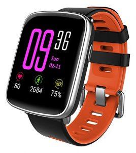 YAMAY Smartwatch Wasserdicht IP68 Smart Watch Uhr mit Pulsmesser Fitness Tracker Armbanduhr Sport Uhr Fitnessuhr mit Schrittzähler,Schlaf-Monitor,Setz-Alarm,Stoppuhr,SMS-, Anruf-Benachrichtigung Push/Kamera-Fernsteuerung Musik für Android und iOS Telefon