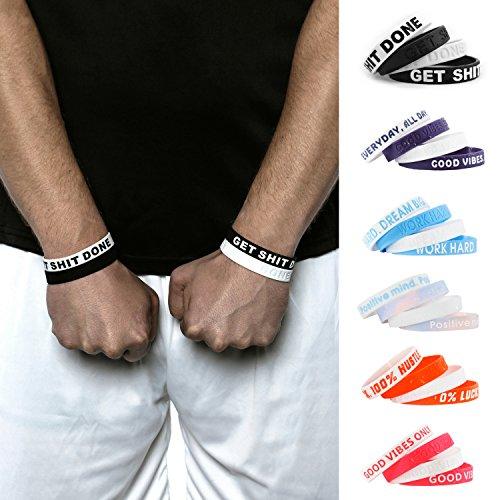 Aura Design Armband für Damen & Herren | Armbänder in Verschiedenen Farben | Sportarmband | Silikonarmband | Fitness Armband | 4 Armbänder (Schwarz & Weiß)