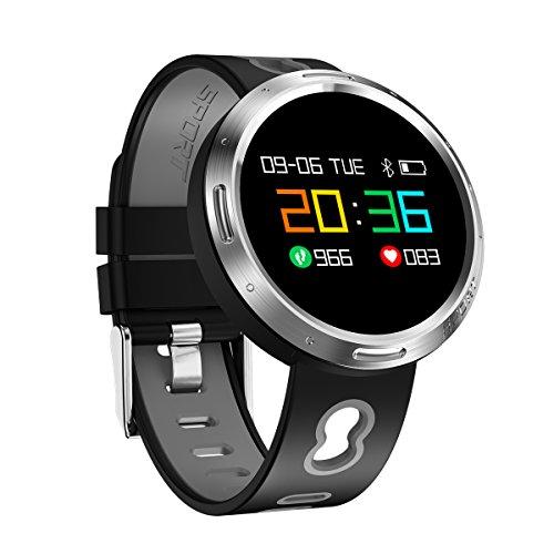 Sportuhren Rund Herren, Armband sport fitness Activity Tracker Armband Wasserdicht IP68, Bluetooth Smartwatch mit Blutdruck/Pulsoxymeter und Pulsmesser für Handy, x9vo Medium grau