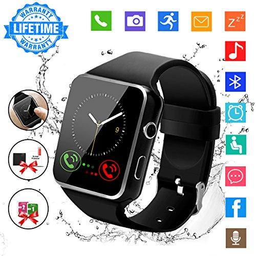 Bluetooth Smartwatch, Uhr Intelligente mit Kamera TF Sim-Kartensteckplatz Wasserdicht Uhren Fitness Tracker Armbanduhr Kompatible Samsung Android Huawei Sony iOS iPhone für Herren Damen