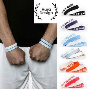 Aura Design Armband für Damen & Herren | Armbänder in Verschiedenen Farben | Sportarmband | Silikonarmband | Fitness Armband | 4 Armbänder (Orange & Weiß)
