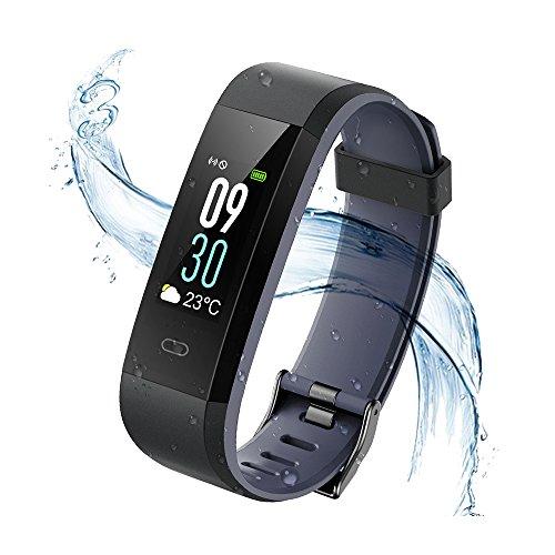 Vigorun Fitness Armband, Farbdisplay Fitness Tracker,Aktivitätstracker mit Pulsmesser,IP68 Wasserdichtes Schrittzähler mit Alarm/Kalorien / Schlafüberwachung, für Android und iOS(Schwarz + Grau)