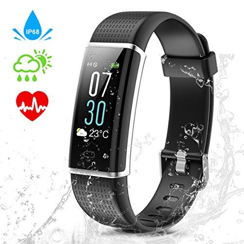 CAMTOA Fitness Tracker mit Pulsmesser, Fitness Armband mit Farbbildschirm Wasserdicht IP68 Aktivitätstracker Schrittzähler Schlafanalyse Kalorienzähler Anruf SMS Kompatibel mit iPhone und Android