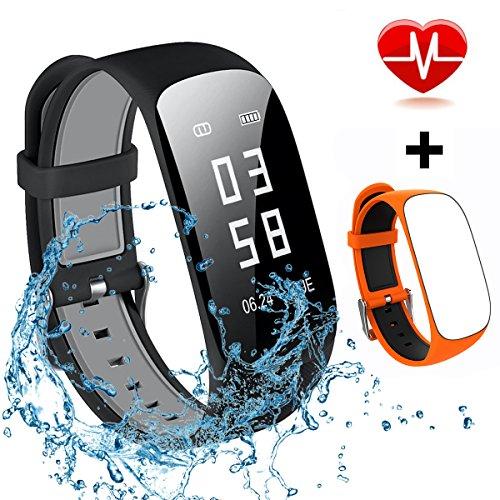 Mocrux Fitness Armbanduhr HR Unisex Armband Zur Herzfrequenz Fitness Tracker Smartwatch Aktivitätstracker Schrittzähler Armbanduhr Schlafanalyse Kalorienzähler Anruf/ SMS Wasserdicht IP67 mit Ersatzarmband