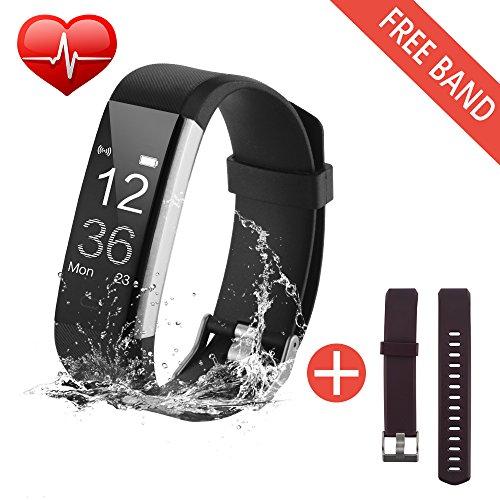 Fitness Armband Uhr mit Pulsmesser Fitness Armbänder Aktivitätstracker,Bonega fitnessuhr Wasserdichte Herzfrequenz-Messgerät Aktivität,GPS,Schrittzähler,Schlaf-Monitor,Bluetooth Schrittzähler Gesundheit Alarme Für Kinder Frauen Männer Android iOS