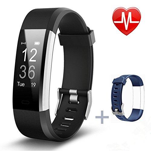 Pruvansay Fitness Armbänder, Fitness Tracker mit Pulsmesser, Fitness Aktivitätstracker Schrittzähler, Schlaf-Monitor,/ Kalorienzähler, Anrufen/SMS, Finden Telefon für Android iOS Smartphone (Schwarz)