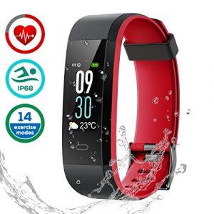 Fitness Armband Uhr mit Pulsmesser, LATEC Farbbildschirm Fitness Tracker Bluetooth Smart ArmbandUhr Wasserdicht IP68 Aktivitätstracker Schrittzähler Watch mit 14 Trainingsmodi Wetteranzeige Schlafmonitor Kalorienzähler Anruf SMS WhatsApp Facebook Twitter für iPhone Android Handy