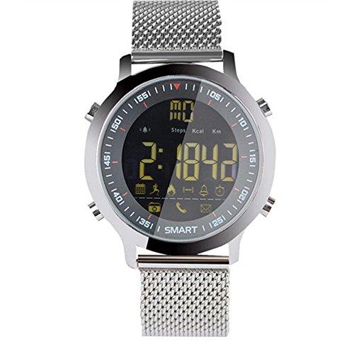 Smart Watch Bluetooth, Sportuhr Fitness Uhr Wasserdicht Schrittzähler Uhr Damen&Herren Aktivitätentracker APP Funktion für Android IOS Silber