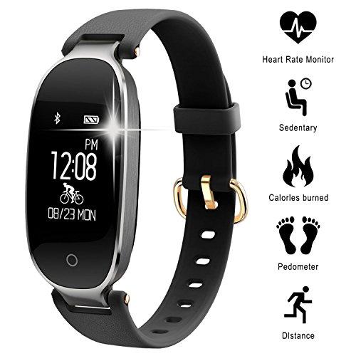 Fitness Tracker mit Pulsmesser, Fitness Armband-Uhr Damen Smartwatch Bluetooth Schrittzähler Wasserdicht Aktivitätstracker Pulsuhren Kalorienzähler Herzfrequenzmesser Schlaftracker für iPhone X,iPhone 7/7 Plus/8/8 Plus, Samsung S8/S8 Plus/S9/S9 Plus, Huawei P20, Xiaomi Andere Smartphone (Schwarz-01)