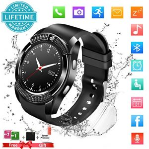 Bluetooth Smartwatch Uhr Smart Watch mit Kamera TF Sim-Kartensteckplatz Wasserdicht Uhren Fitness Tracker Armbanduhr Kompatible Samsung Android Huawei Sony iPhone für Herren Damen