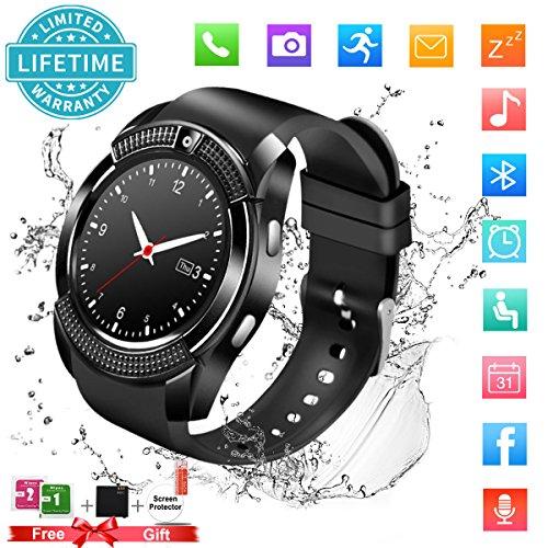 Bluetooth Smartwatch Uhr Smart Watch mit Kamera TF Sim-Kartensteckplatz Wasserdicht Uhren Fitness Tracker Armbanduhr Kompatible Samsung Android Huawei Sony iPhone für Herren Damen