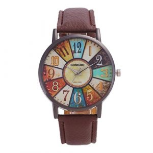squarex Uhren für Damen Verkauf Business Classic, die Armbanduhr Damen Unisex-Retro Casual Kunstleder Analog Quarz Armbanduhr, Damen, Braun, AS Show