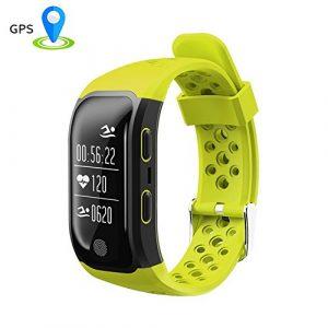 Fitness-Tracker, OOLIFENG GPS Smartwatch Aktivitäts-Tracker Mit Pulsmesser IP68 Wasserdicht SMS / Anruf Erinnerung Für Ios Android ,Gelb