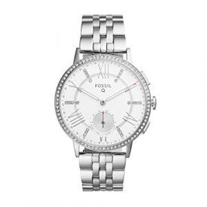 Fossil Damen Hybrid Smartwatch Q Gazer – Edelstahl – Silber – Elegante analoge Damenuhr mit vielen Smartfunktionen & bestückt mit glitzernden Steinchen – Für Android & iOS