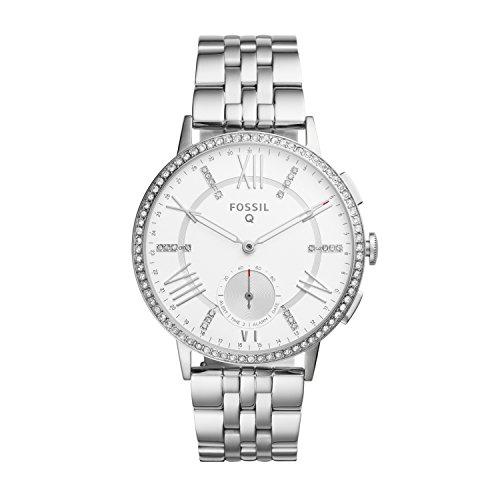 Fossil Damen Hybrid Smartwatch Q Gazer - Edelstahl - Silber – Elegante analoge Damenuhr mit vielen Smartfunktionen & bestückt mit glitzernden Steinchen – Für Android & iOS