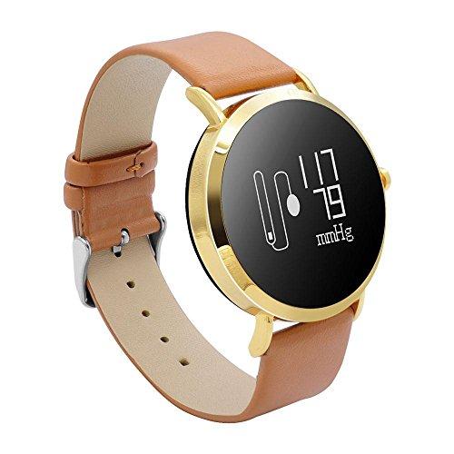 Teepao Fitness Tracker Armbanduhr für Damen Herren OLED-Bildschirm Activity Tracker mit Herzfrequenz/Sleep Monitor Kalorien Track IP67 Wasserfest Schwarz Stahl Band Brown Leather Band