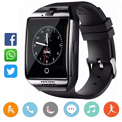 CatShin Smartwatch damen/herren-Armband Sport Uhr Mit TF SIM Kartenschlitz Fitnessuhr Fitness Tracker Intelligente Armbanduhr mit Kamera Schrittzähler Schlaftracker Kompatibel für Android/IOS-SCHWARZ