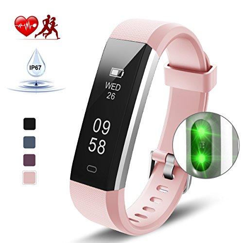Kungber Fitness Tracker, Fitness Armband Uhr mit Pulsmesser, IP 67 Wasserdichte Smart Armbanduhr, Schlafmonitor, Schrittzähler Kalorienzähler für Android und iOS, Geschenk für Kinder Frauen Männer