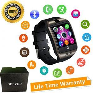 Smartwatch mit Kamera Touchscreen Wasserdicht Smart watch mit Sim Card Slot Facebook Whatsapp Schrittzähler Fitness Tracker Intelligente Armbanduhr Kompatibel ios iPhone Android Handys Damen Herren Kinder (Schwarz)