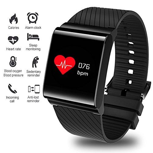 Fitness Tracker, Smart Armband Activity Tracker Blutdruck Pulsmesser Outdoor Sports Fitness Uhr Großbild Smartwatch Armband Bluetooth Pedometer mit Schlaf Monitor Männer, Damen und Kinder von Android & iOS