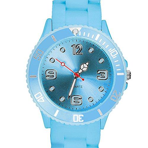 Taffstyle Farbige Sportuhr Armbanduhr Silikon Sport Watch Damen Herren Kinder Analog Quarz Uhr 43mm Hellblau