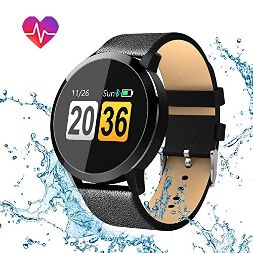 Smartwatch, Hizek Q8 Wasserdicht Smart Watch Intelligente Rund Bluetooth Fitness Armbanduhr mit Herzfrequenz / Blutdruck / Schlaf Monitor / SMS-, Anruf-Benachrichtigung Touchscreen für Android Ios Iphone Samsung Sony Huawei Damen Herren (Schwarz)
