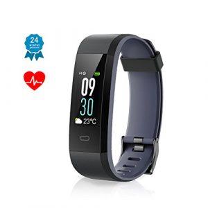 Muzili Fitness Armband IP68 Wasserdicht Fitness Tracker Sport Uhr Fitness Armbanduhr Aktivitätstracker schrittzähler Pulsuhren Smart Watch Fitness Uhr für Kinder Frauen und Männer(Black+Grey)