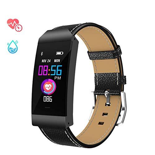GOKOO Smartwatch Armbanduhr, Wasserdicht IP67 Fitness Tracker für Damen Frauen Männer mit Schrittzähler, Schlafmonitor, Informationsspeicherung, Farbdisplay für ios und Android (schwarz) …