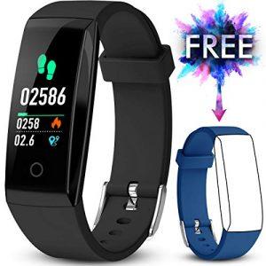 JAZIPO Fitness Armband mit Pulsmesser, Fitness Tracker Wasserdicht IP67 Blutdruckmesser Farbbildschirm mit GPS Aktivitätstracker Pulsuhren[2 x Replaceable Watch Strap]