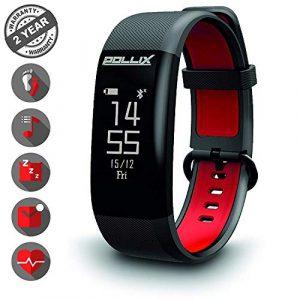 POLLIX – Fitness Armband Uhr mit Pulsmesser u Schrittzähler, Activity Tracker IPX7 Wasserdicht Sport- Pulsuhr mit Musiksteuerung, Anruf, SMS, FB, Whatsapp Benachrichtigungen für iOS Android