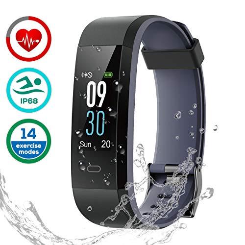 Fitness Armband Uhr mit Pulsmesser, LATEC Farbbildschirm Fitness Tracker ArmbandUhr Wasserdicht IP68 Aktivitätstracker Schrittzähler Watch mit 14 Trainingsmodi Schlafmonitor Anruf SMS WhatsApp