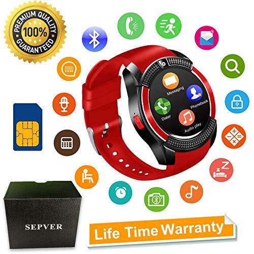 SEPVER Smartwatch SN08 Smart Watch Fitness Uhr Intelligente Armbanduhr Fitness Tracker Sport Uhr mit SIM Karte Slot Kamera Kompatibel mit Android Smartphone iPhone für Damen Herren Kinder (Rot)