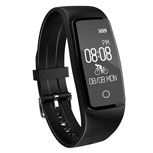 YAMAY Fitness Armband, Fitness Tracker mit herzfrequenz Pulsmesser Aktivitätstracker Armbanduhr Wasserdicht Pulsuhren Schrittzähler Vibrationswecker Anruf SMS SNS Vibration für iOS und Android Handys