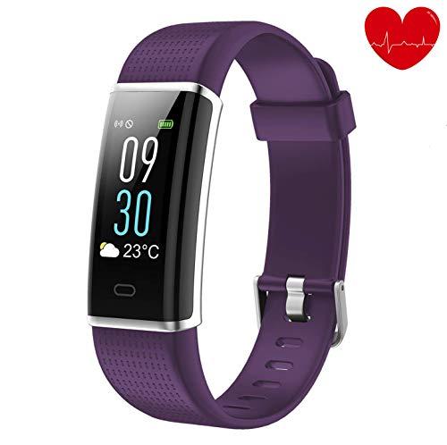 alwaiiz Fitness Tracker,Wasserdicht Fitness Armband Farbbildschirm Aktivitätstracker mit Pulsmesser Schrittzähler Schlaf-Monitor Fitness Uhr Sportuhr für Damen Herren Kinder(Violett)