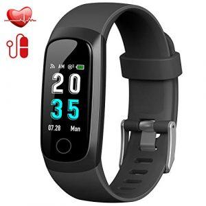 Trswyop Fitness Armband mit Pulsmesser, Fitness Tracker Uhr Wasserdicht IP67 Blutdruckmesser Farbbildschirm GPS Aktivitätstracker Stoppuhr Schrittzaehler Schlafüberwachung für Kinder Damen Herren