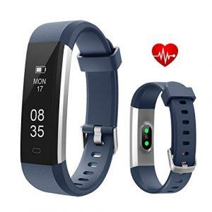 Fitness Armbanduhr, TOOBUR Schmal Wasserdicht Fitness Tracker mit Herzfrequenz Schrittzähler Schlafmonitor und Kalorienzähler, Aktivitätstracker Armband Uhr für Damen Herren und Kinder–Blau