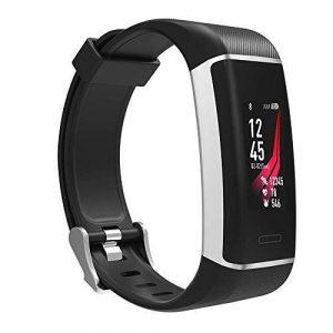 Fitness-Tracker Athletic – Sport-Uhr mit integriertem GPS-Chip, Farbdisplay, Wecker, Schrittzähler, permanente Herzfrequenz-Messung, Uhren-Verschluss, Wasserdicht IP67 – deutsche Anleitung (schwarz)